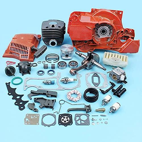 HaoYueDa Motor Motor Cigüeñal Cilindro de 50 mm Carburador de cigüeñal Compatible con Motosierra Husqvarna 365372362371 Kit de carburador de válvula de Arranque de Retroceso