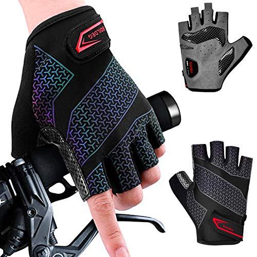 Fahrradhandschuhe, Männer Frauen Halbfinger Radsporthandschuhe Bunt Gradient Reflektierend Handschuhe, Rutschfeste und Stoßdämpfende Atmungsaktiv Rennrad Handschuhe für Radfahren, Wandern, MTB (L)