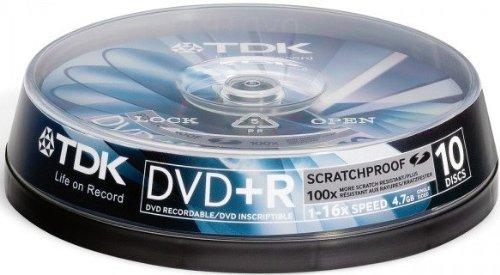 TDK DVD+R 4,7 GB 16x DVD-Rohlinge 10er Spindel