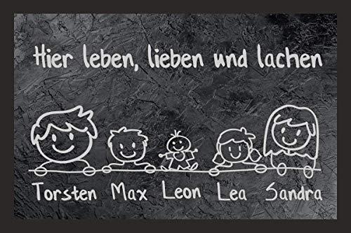 creativgravur® Individuell bedruckte Fußmatte - Schiefer Look mit Wunschnamen Familie Namen, Größe der Fußmatte:50 x 75 cm