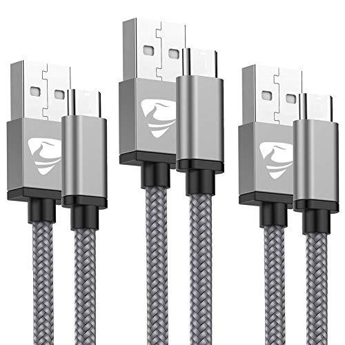 USB C-kabel, Aioneus (3-pack 1 M+1,5 m +2 M) typ C-kabel snabbladdningskabel nylon flätad USB-C laddningskabel för Samsung S8 S10 S9 A40 A50 A70,Huawei P20 P10 P30 P9 Mate 20, LG V30 G6, Sony Xperia