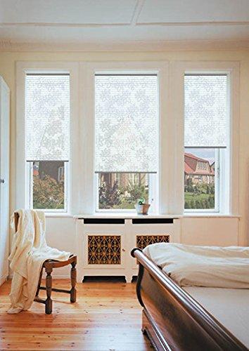 sundiscount Stoffmuster für Plissee nach Maß Simply Design/creativ 61341 transparente Blüten auf weiß