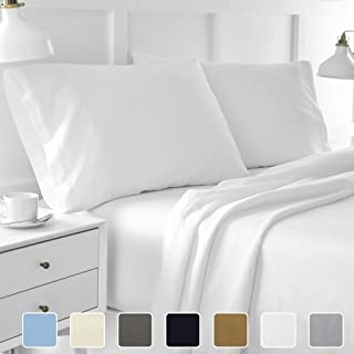 Ossam Linen Great Sale on Amazon King Size Sheets Luxury Soft 1200-TC Heavy Egyptian Cotton Sheet Set King Size (76x80) Fits 7-9 Inches Deep Pocket (Solid, White)