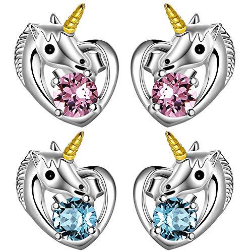 JPYH Pendientes de mujer Unicornio Pendientes Aretes de Hipoalergénica joyas para Chicas con Circonita Piercings Pendientes Regalo de navidad de cumpleaños (2 pares)