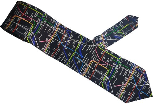 Elegance1234 Soie cravate des hommes en noir avec Londres Carte du tube souterrain sur elle