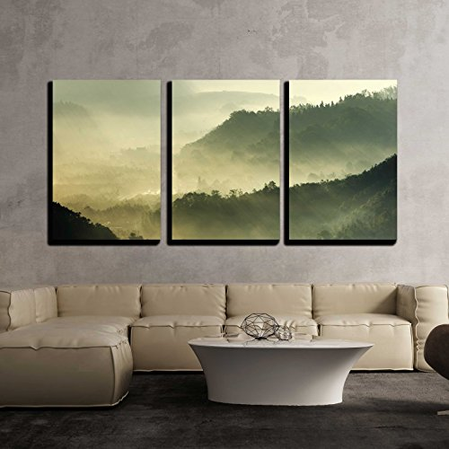 wall26 - 3 Piece Canvas Wall Art - Morning Sunshine with Fog - Modern Home Art Stretched and Framed Ready to Hang - 16