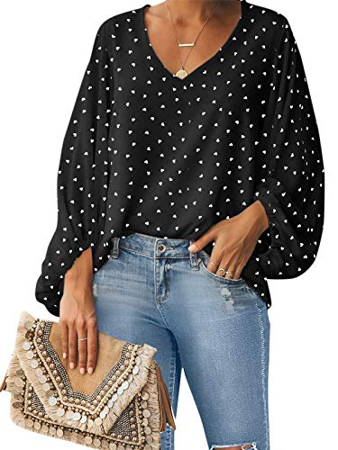 Style Dome Camisas para Mujer Verano Camiseta Manga Larga Blusa de Gasa con Escote en V Estampado Lunares Moda Tops Mujer Fiesta Negro XXL