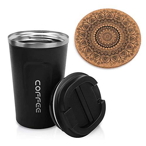 AVNICUD 510ml Copa de aislamiento,Taza de café de acero inoxidable con aislamiento al vacío,Taza de café con posavasos de corcho,para oficina o trabajo