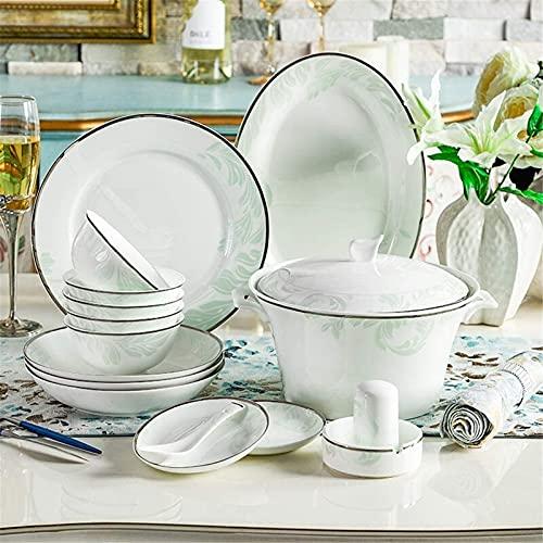 JXH Juego de platos de cena, vajilla de cerámica con 46 piezas, tazón/olla/plato/cuchara | juegos de cena de hueso China, conjunto de combinación de porcelana verde fresco, Euro Ceramica