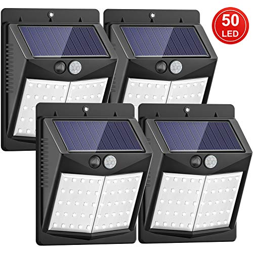 [122 LED/3 Modos] Luz Solar de Exterior, SEZAC Luces de seguridad solar Sensor de movimiento Luces solares Luces al aire libre a prueba de agua para jardín Cerca Patio Garaje (paquete de 4)