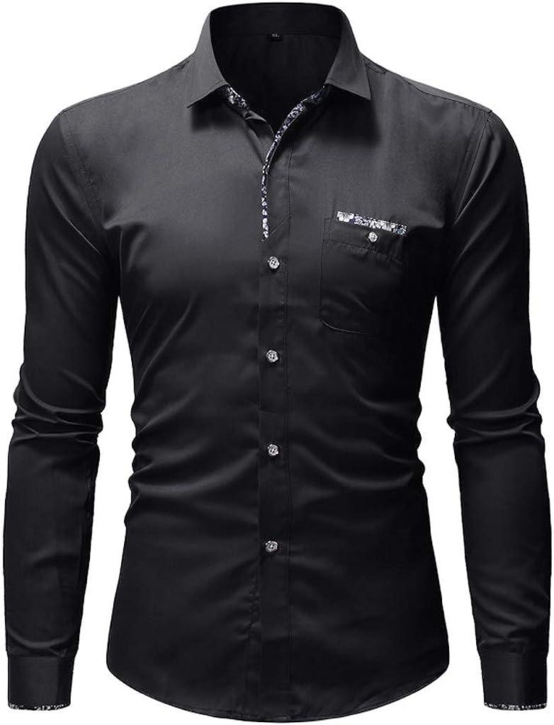 MODOQO Men's Shirt Long Sleeve Solid Casual Button Down Shirt