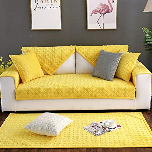 YUTJK Cotton Printed Corner Sofa Slipcover, Living Room Fabric Sofa Seat Covers, Furniture Protector Cover, Cojín de sofá de Terciopelo Plush Craft, Vendido en Pedazos, Amarillo
