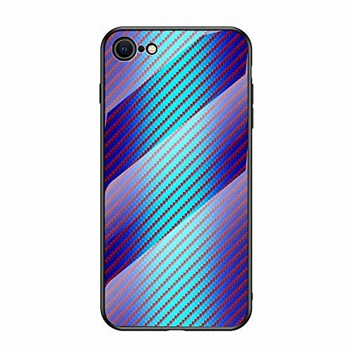 Miagon Verre Coque pour iPhone 7/8,Fibre de Carbone Séries 9H Revêtement Arrière en Verre Trempé Protection Cover avec Silicone Souple Cadre pour iPhone 7/8,Bleu
