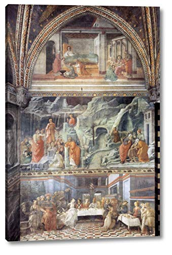"""View of The Right South Wall of The Main Chapel by Fra Filippo Lippi - 11"""" x 16"""" Gallery Wrap Canvas Art Print - Ready to Hang"""