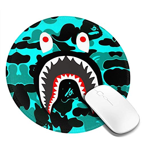 Ba-pe Shark Face Big Mouth Teeth Mousepad Non-Slip Rubber Gaming Mouse Pad Mouse Pads for Computers Laptop 8.0x8.0 in