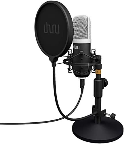 Microphone de podcast PC USB, kit de microphone à condensateur d'enregistrement UHURU Professional 192KHZ / 24Bit, co...