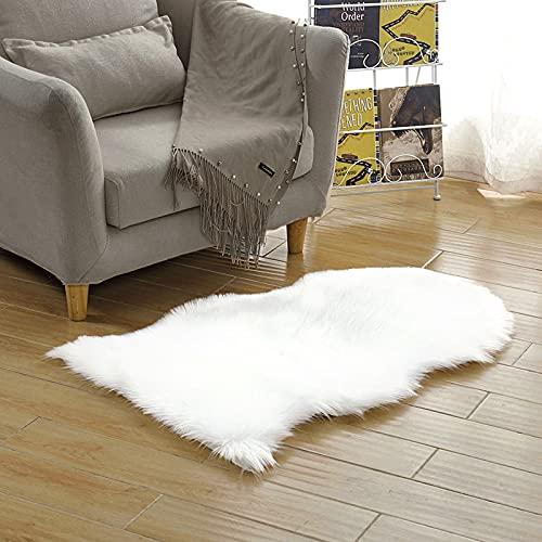 NeuWook Alfombra de pelo sintético suave, acrílico, antideslizante, para dormitorio, salón, habitación de los niños, decoración (blanco, 60 x 90 cm)
