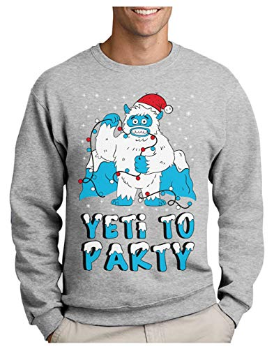 Green Turtle T-Shirts Pull de Noel Yeti Ugly Christmas Party Sweatshirt Homme X-Large Gris Chiné