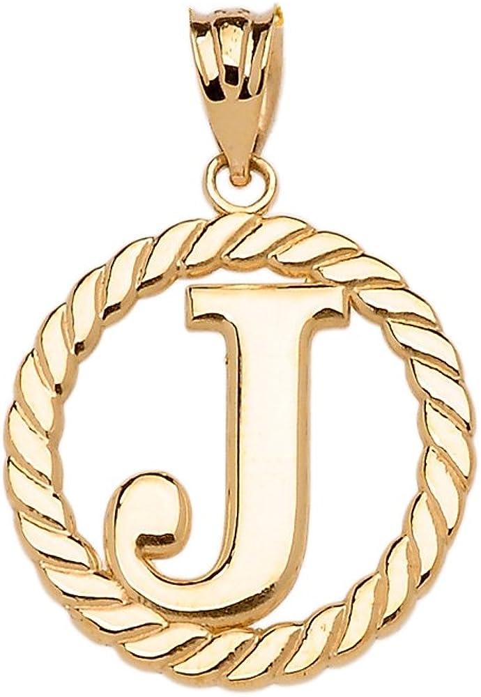 High Polish 10k Yellow Gold Roped Circle J Initial Charm Pendant