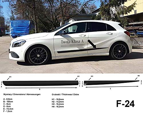 Spangenberg Barres de protection latérales noires pour Mercedes Benz Classe A W176 à partir de l'année de construction 06.2012- F24 (3700024).