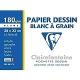Clairefontaine 96175C - Une pochette Dessin à grain blanc 12 feuilles 24x32 cm 180g