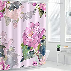 DANGCCI Waterproof Shower Curtain Silk Wash Summer Template Painting Flower Seamless Pattern Botanical Bush Textures Pink Abstract Bathroom Polyester Fabric 72×96 Inches Bath Decor Set with Hooks