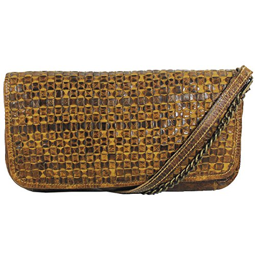 Billy The Kid Clutch Tasche Abendtasche Candy Leder M404, Farbe:Honey