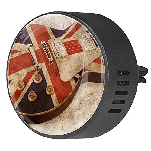 Difusor de coche para clips de ventilación de aceite esencial,Guitarra eléctrica Bandera británica ,2 paquetes de ambientadores de aromaterapia de 40 mm