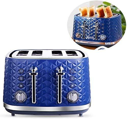 CAIJINJIN Máquina para hornear 4 Slice Toaster, acero inoxidable retro de la tostadora con 7 Ajustes de sombra y la miga y la bandeja extraíble, 7 niveles de dorado y funciones de descongelación perso