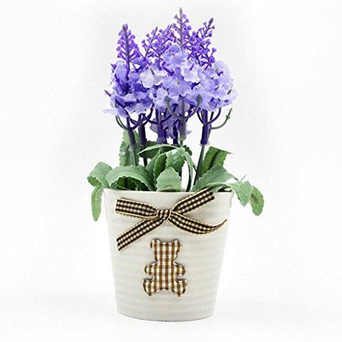 Aoligei Mini plante de lavande simulation fausses fleurs décoration intérieure plantes en pot chaque ensemble de deux pots 17*6cm