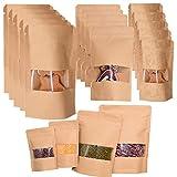 MKISHINE 100 Sacs Papier Kraft Zip avec fenêtre,Sachet Papier 3 Tailles,Sac d'emballage avec Fenêtre Transparent,Pochette en Paper à Fenêtre pour Bonbons,Patisserie,Grains,Ingrédients Sec
