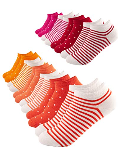 FOOTNOTE I 10 Paar I Sneaker Socken Ohne Gummi Ohne Naht Damen Herren Orange-Rot in 35 36 37 38