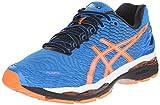 ASICS Men's Gel Nimbus 18 Running Shoe, Electric Blue/Hot Orange/Black, 16 M US