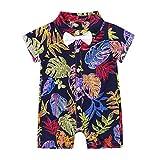 Yeahdor Baby Strampler Jungen Hawaii Overall Jumpsuit Sommer T-Shirt Gentleman Hemd Urlaubs Freizeit Kleidung Onepiece Spielanzug Gr. 62-82 Bunt A 80-86
