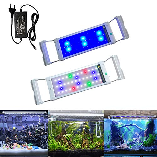 Aufun Aquarium LED Beleuchtung 6W Aquariumbeleuchtung 2 Lichtmodi 42LEDs Aquariumlampe mit Verstellbarer Halterung aus Alu und Edelstahl für 30-50 cm Aquarium, RGB Licht Weiß Blau Rot Grün