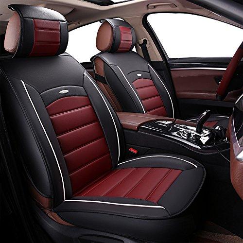 1 pieza Asiento delantero Cubierta del asiento del conductor y del pasajero Fundas de cuero de la PU Cubierta del asiento del coche universal Protector del asiento delantero Ajuste para la mayoría de los automóviles SUV (Black&Red)