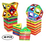 dreambuilderToy Magnetic Tiles Building Blocks Game Set Toys (40 PC Set) (Regular Color)