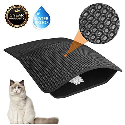 Akarden Cat Litter Mat, Waterproof Urine Proof Cat Litter Trapping Mats(25.5''X17.7''), Double-Layer Design