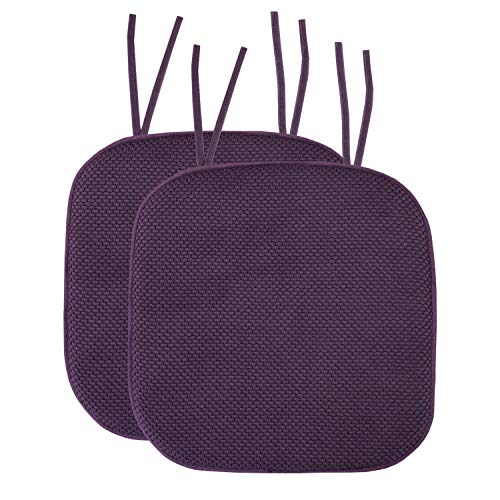 Sweet Home Collection Chair Cushion Memory Foam Pads with Ties Honeycomb Pattern Slip Non Skid Rubber Back Rounded Square 16' x 16' Seat Cover, 2 Pack, Eggplant Purple