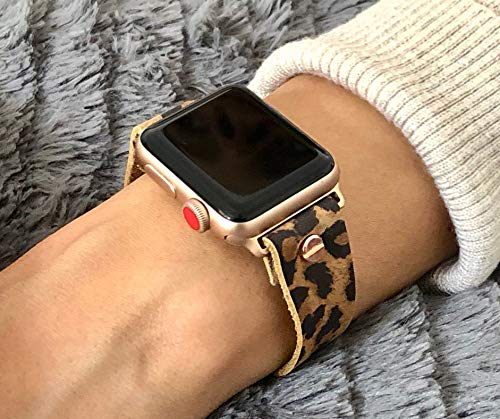 Leopard Print Leather Bracelet For Apple Watch 38mm 40mm 42mm 44mm Handmade Women Fashion Design iWatch Band Rose Gold Jewelry Adjustable Size Strap Wristband