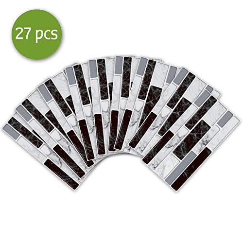 27pcs Non-slip Waterproof Tile Stickers Peel and Stick, 3D Brick Effect Self Adhesive Wall Tiles Sticker Decals for Bathroom Kitchen Backsplash DIY Home Decor (20x10cm - 27 pcs, Black White Marble)