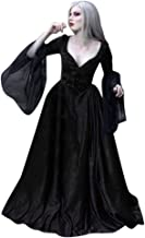 Women Medieval Vintage Dress Gothic Patchwork Lace Sexy Deep V-Neck Fashion Dress Long Sleeve Halloween Party Dress up Cosplay Costume