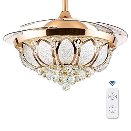 MAMINGBO Ventilador de techo con luz y control remoto Ventilador de techo Luz Sala de estar Sala de estar Dormitorio Dormitorio Hogar Atmósfera Minimalista Fan aficionado Chandelier (oro, plata)