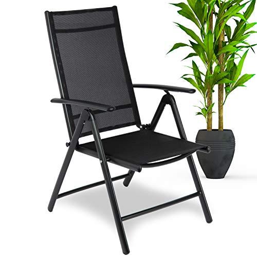 WONEA - Silla de jardín plegable de aluminio con respaldo alto ajustable en 7 posiciones, resistente a la intemperie, plegable para jardín, terraza, balcón (1 pieza/negro)
