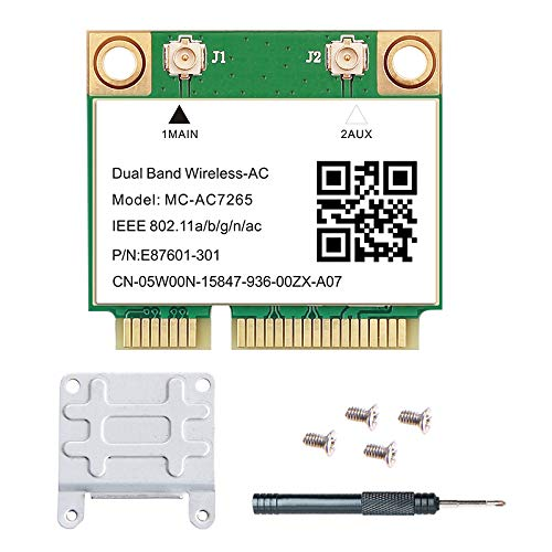 Mini PCI-E WiFi Card 1200Mbps Wireless-AC 7265 BT4.2 Dual Band PCIe gigabit Network Card 2.4GHz 300Mbps 5GHz 867Mbps Half Mini WLAN Adapter Support Windows 7 8 10