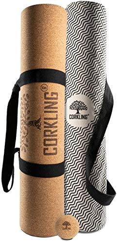 Corkling Yogamatte Kork Naturkautschuk Bundle inkl. Faszienball, Trage Gurt und Yoga Tasche-183x66x0,5cm Kork Yogamatte-extrem rutschfest, schadstofffrei und nachhaltig produziert