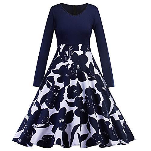 Vestido de Verano con Estampado Floral Vestido de Falda Larga Country Rock Cóctel Retro Swing Party Dress @Dark_Blue_M