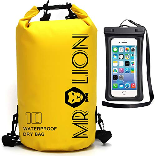 Waterproof Dry Bag  Roll Top Dry Compression Sack Keeps Gear Dry for Kayaking Beach Rafting Boating Hiking Camping Swimming Floating and Fishing with Waterproof Phone Case Yellow 10L