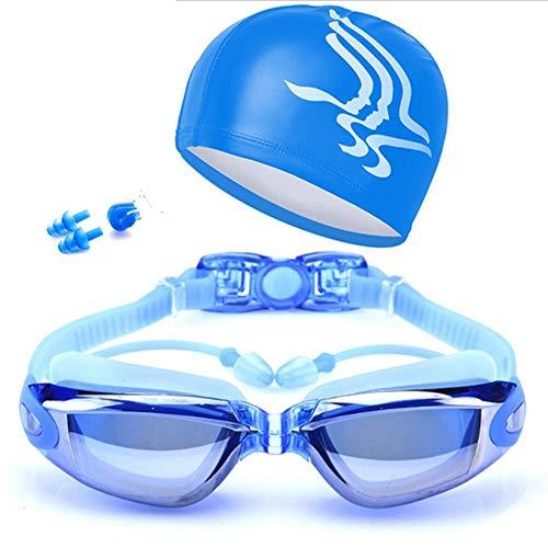 XLY 1 Set Gafas de natación HD Anti-Fog 100% UV cinturón de Gafas Ajustable Gafas de natación Profesionales Gafas graduadas para Adultos para Hombres Mujeres