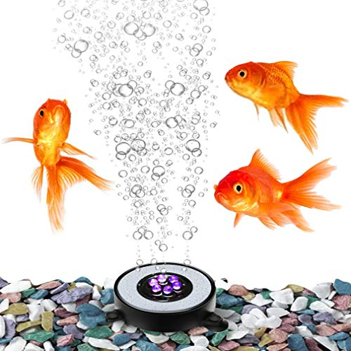 SunGrow Aquarium Multi-Colored Changing LED Air Stone Bubbler, A Vegas Show for Your Fish, Energetic Bubbles Equal Energetic Fish, Adds Oxygen and Keeps Tank Clean, 6